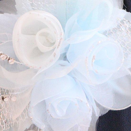 ブルー 水色 ホワイト 白 三輪 下がり付き コサージュ ケース付き【画像8】