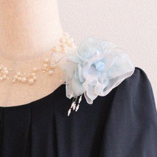 コサージュ | 仕様で選ぶ ブルー 水色 シルク 正絹 下がり付き コサージュ ケース付き