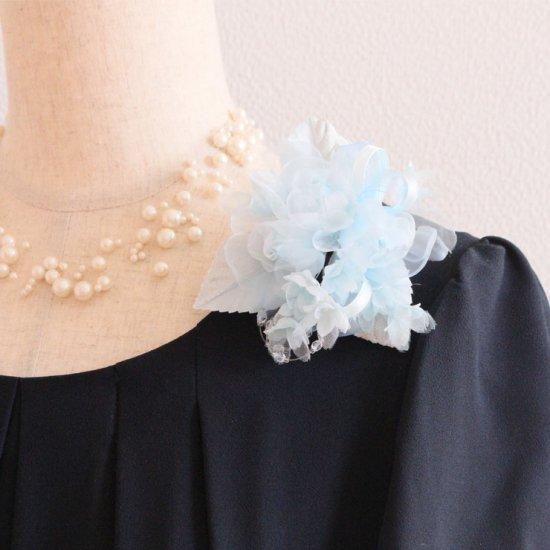 ブルー 水色 小さい バラ 小花 コサージュ ケース付き