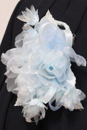 ブルー 水色 小さい バラ 小花 コサージュ ケース付き【画像6】
