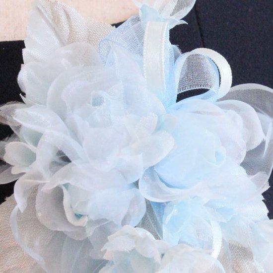 ブルー 水色 小さい バラ 小花 コサージュ ケース付き【画像8】
