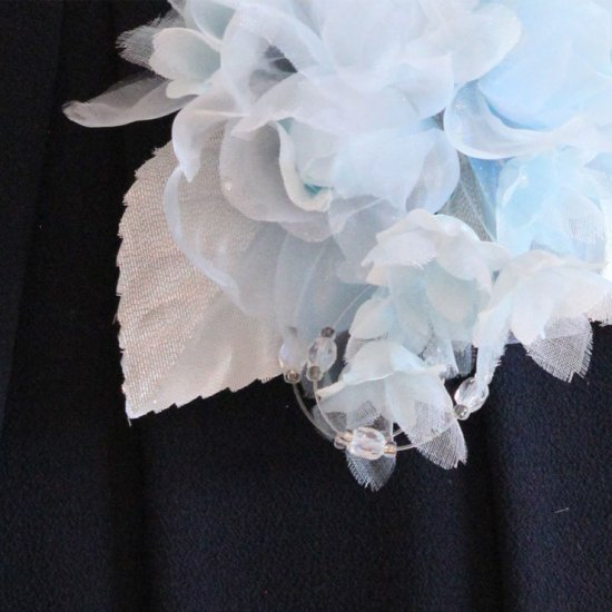 ブルー 水色 小さい バラ 小花 コサージュ ケース付き【画像9】