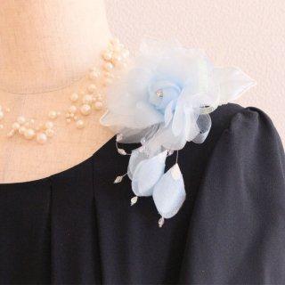 コサージュ | 仕様で選ぶ ブルー 水色 バラ 花びら 下がり付き コサージュ ケース付き