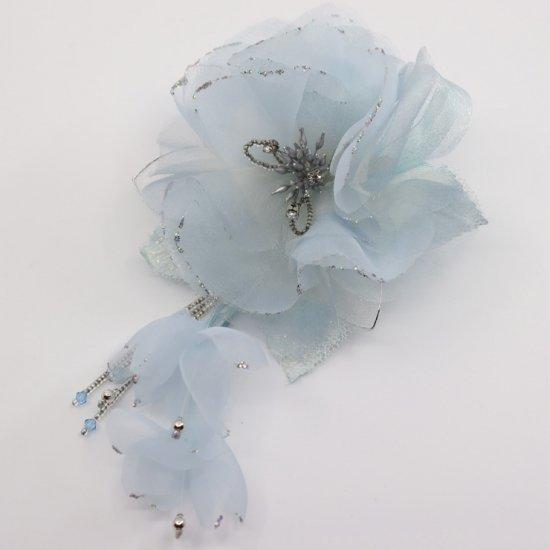 ブルー 水色 大きい 一輪 下がり付き コサージュ ケース付き【画像5】