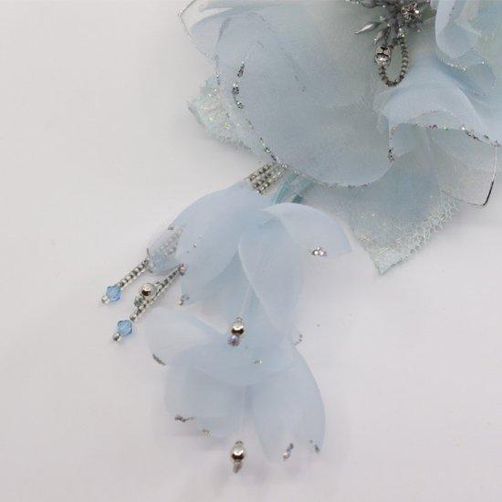 ブルー 水色 大きい 一輪 下がり付き コサージュ ケース付き【画像7】