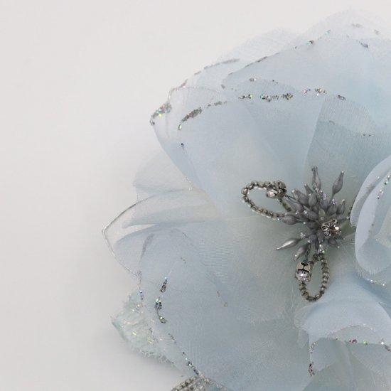 ブルー 水色 大きい 一輪 下がり付き コサージュ ケース付き【画像8】