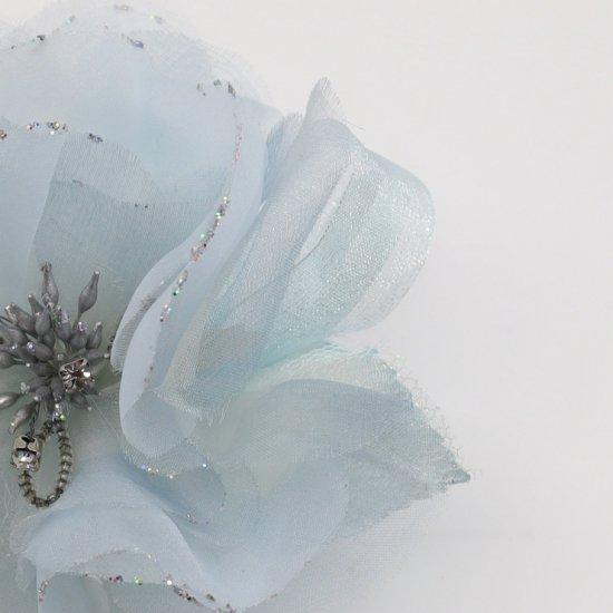 ブルー 水色 大きい 一輪 下がり付き コサージュ ケース付き【画像9】