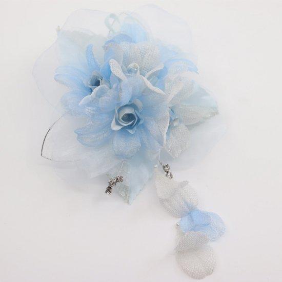 ブルー 水色 ラインストーン 花びら 下がり付き コサージュ ケース付き【画像5】