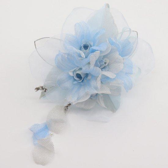 ブルー 水色 ラインストーン 花びら 下がり付き コサージュ ケース付き【画像6】