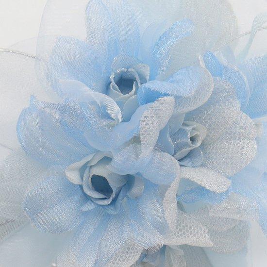 ブルー 水色 ラインストーン 花びら 下がり付き コサージュ ケース付き【画像7】