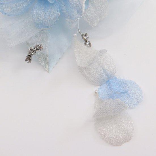 ブルー 水色 ラインストーン 花びら 下がり付き コサージュ ケース付き【画像8】