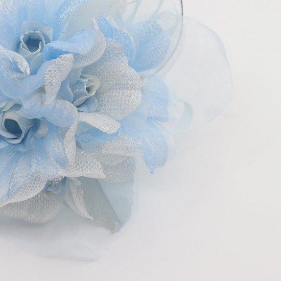 ブルー 水色 ラインストーン 花びら 下がり付き コサージュ ケース付き【画像9】