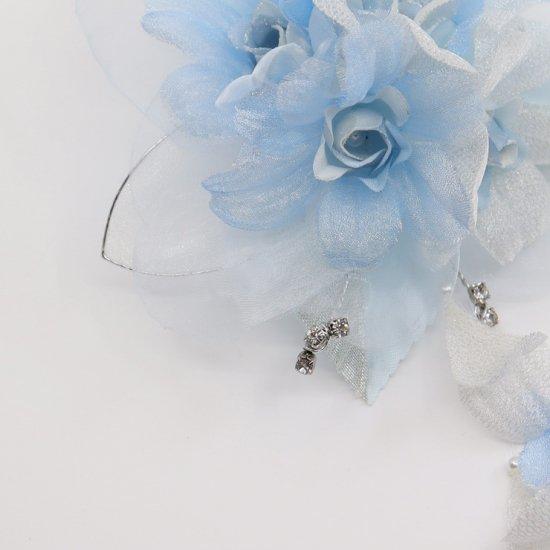 ブルー 水色 ラインストーン 花びら 下がり付き コサージュ ケース付き【画像10】