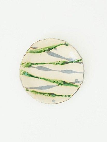 [玉山窯]織部線文6寸皿