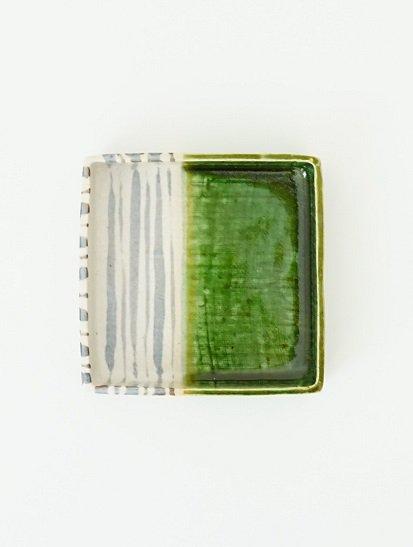 [玉山窯]織部十草5寸角鉢