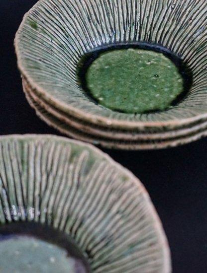 [玉山窯]織部十草6寸鉢