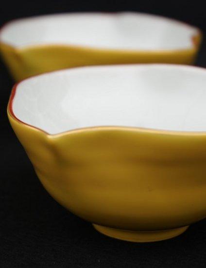[蔵珍窯]黄彩波千鳥 小鉢