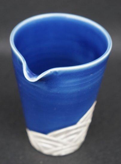 [蔵珍窯]銀彩ルリ釉波紋 片口酒器
