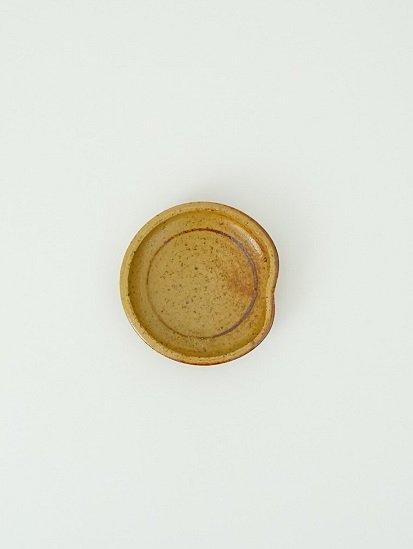 [別所窯]黄灰釉鉄彩小皿