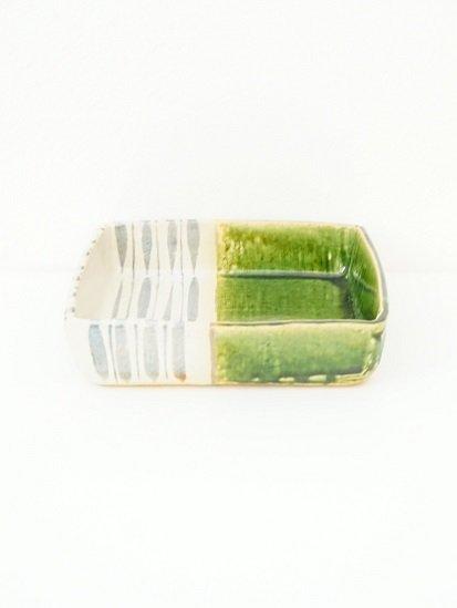 [玉山窯]織部十草6寸角鉢