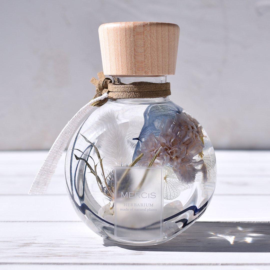 【パワーストーン+ハーバリウム】『YURAGI 〜ゆらぎ〜』エリンジウム・ムーンストーンボトル