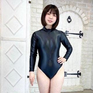 【オリジナル】 スーパーウェット素材フロントファスナー長袖レオタード