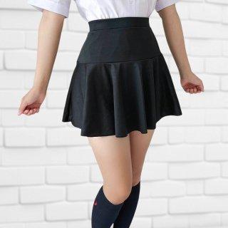 【オリジナル】2WAYストレッチ素材2段フレアースカート
