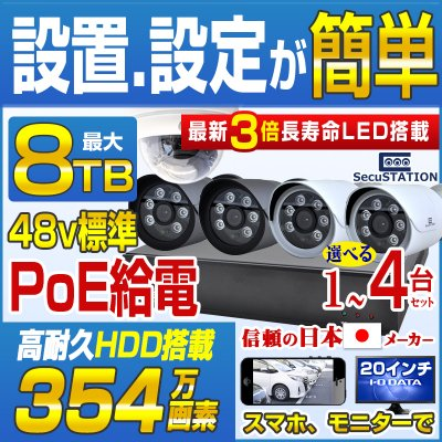 SC-Z714K デジタルPOEカメラ1〜4台&最高級録画装置セット HDDなし