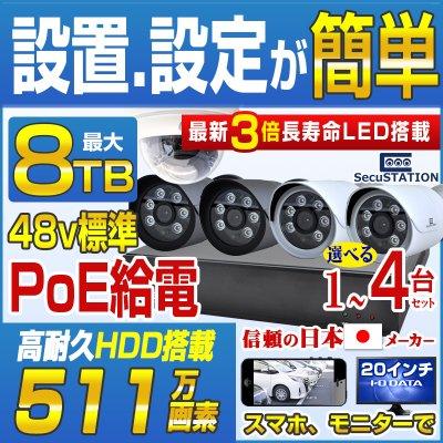 SC-Z714K デジタル511万画素 POEカメラ1〜4台&最高級録画装置セット 1TB内蔵