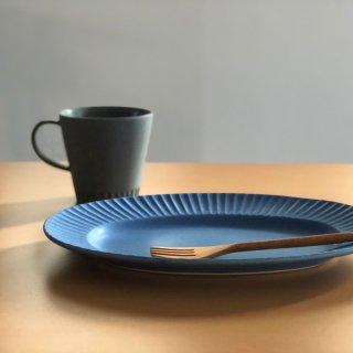 Lineライン オーバルプレート ブルー
