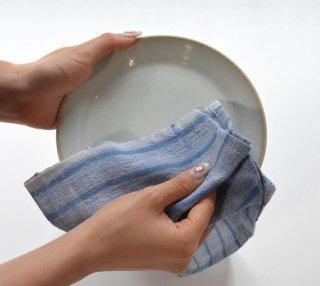 Khadi cotton カディタオル ストライプブルー