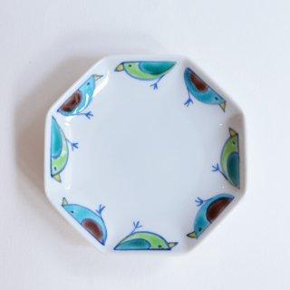 眉石窯 鳥文 新八角小皿