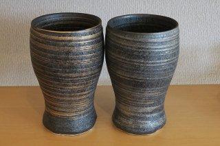 金銀刷毛目ビールカップペア(有田焼)