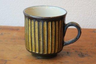 黄釉しのぎマグカップ(京焼)