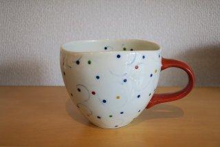 ビーズ唐草マグカップ・赤(有田焼)