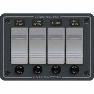 227618<br>BlueSea コンチュラ スイッチ パネル 横型 4P w/ヒューズ<br>(8262)