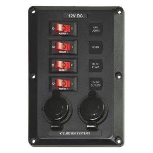 300192<br>DC スイッチ パネル12VDC CB 4 Pos 2 12V Plugs<br>(4351)