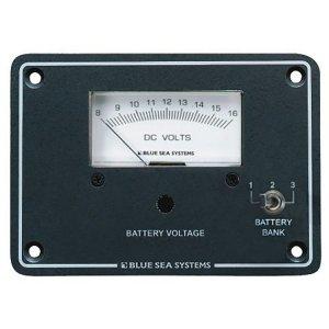 227544<br>BlueSea 電圧計アナログ&パネル DC 8-16 V <br>(8015)