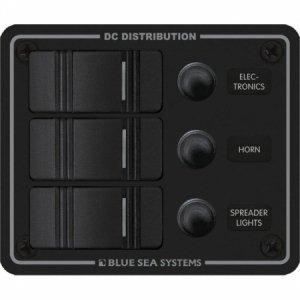 227629<br>BlueSea コンチュラ スイッチ パネルBK付 縦型 3P Black<br>(8374)