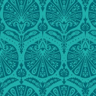 DCD-31608 Coquille Damask Teal - Decadence コットン100%
