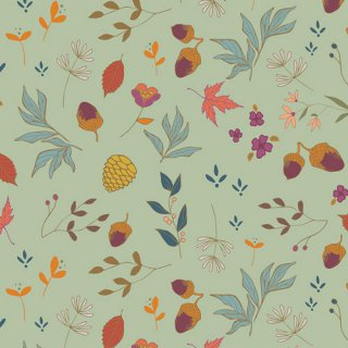 ATV-87209 Acorns & Pinecones Mint  - Autumn Vibes コットン100%