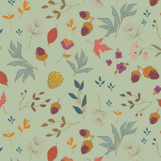 ATV-87209 Acorns & Pinecones Mint  - Autumn Vibes コットン100%