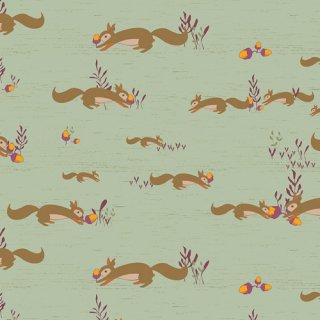 ATV-97206 Squirrels At Play - Autumn Vibes コットン100%