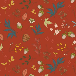 ATV-97209 Acorns & Pinecones Pecan - Autumn Vibes コットン100%