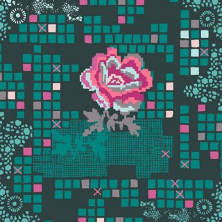 <img class='new_mark_img1' src='https://img.shop-pro.jp/img/new/icons3.gif' style='border:none;display:inline;margin:0px;padding:0px;width:auto;' />GRI-50409 Rose Circuit Teal - Grid コットン100%
