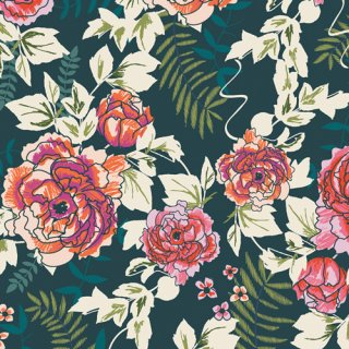 TRV-58120 Everblooming Camellias Aglow - Trouvaille 【カット販売】 コットン100%