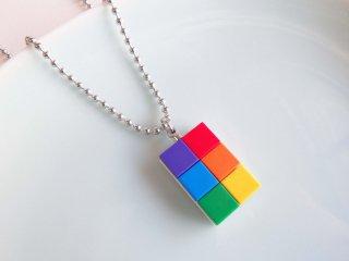 レインボー・レゴブロックネックレス(タイプD)