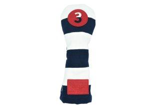 3番フェアウェーウッド用ヘッドカバーNW  帆布キャンバスシリーズ ボーダー