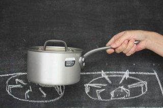 Saucepan ソースパン 15cm silver×black