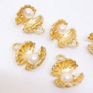 真珠貝のチャーム 2個 二枚貝